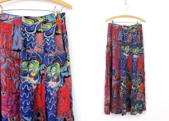 Long Purple Blue Skirt Rayon Swirl Print Maxi Floral Skirt Bohemian Secretary Skirt 1990s Revival Womens size Small Medium 8