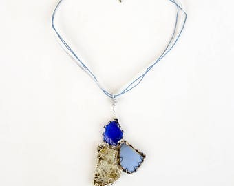 Blue Beach Glass Broken Found Object Wire Wrap Pendant Necklace, Primitive Abstract Triangle Stone and Ceramic Natural Beach Find Jewelry