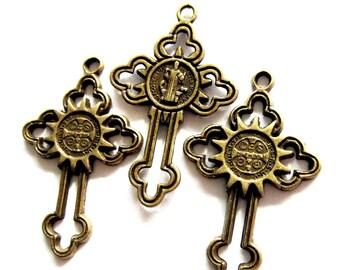6 Bronze cross pendant charms antiqued metal 24mm 38mm