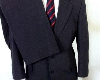 euc Gordon Thomas Charcoal 100% Wool Men's 2 Pc Business Suit sz 44 S