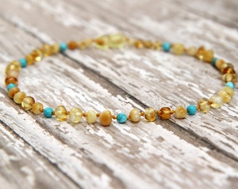 Baltic Amber Teething Necklace, amber baby necklace, natural pain relief, turquoise gemstone jewelry, polished amber teething necklace