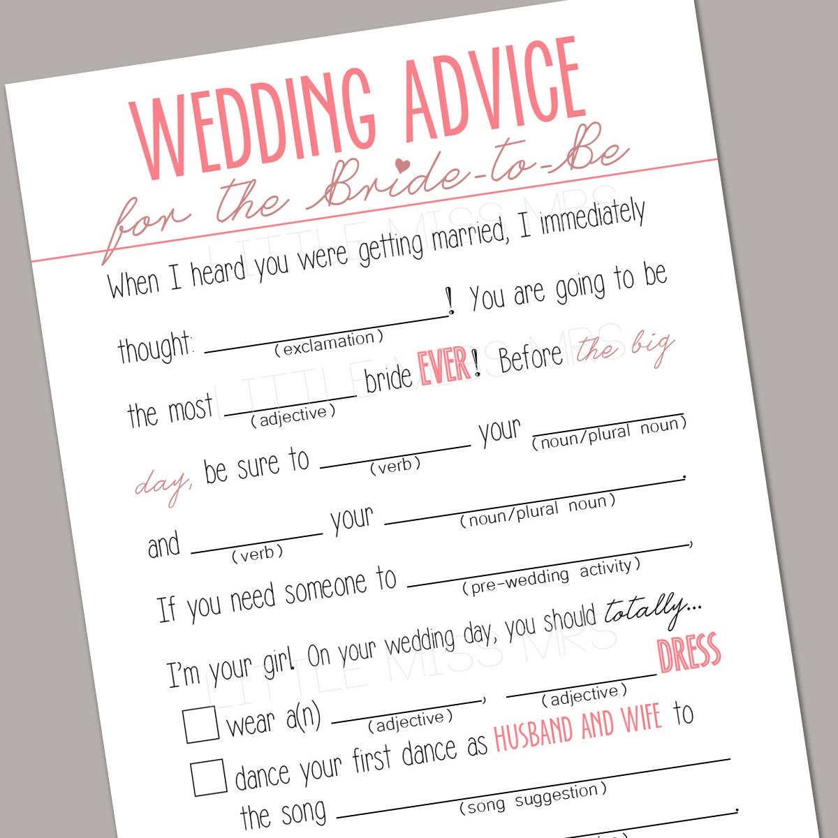 Printable Wedding Advice Mad-lib Bridal Shower game (pink)