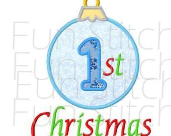 1st Christmas ornament applique machine embroidery design