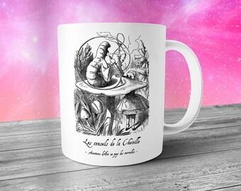 French Alice in Wonderland Mug - Hookah Caterpillar - Graphic Mug - Alice Liddell - Artistic Mug - French Language Mug - Lewis Carroll