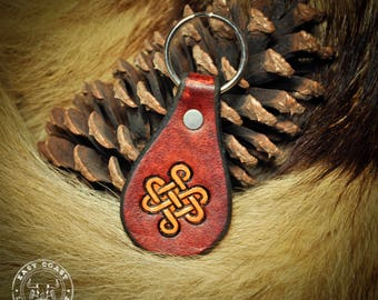 Leather Key Fob Laynard Keychain - Celtic Knot-work