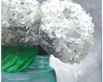 Hydrangea in mason jar print from original painting, hydrangea decor, Farmhouse style art, Farmhouse flower art, Mason Jar Art