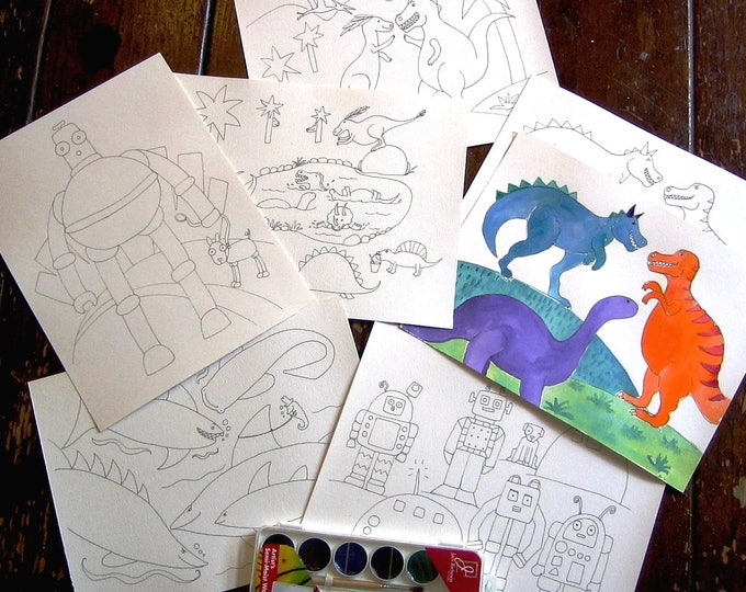 Kids Watercolor Kit - Dinosaurs, Sharks and Robots
