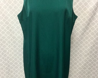 Maggie Sweet Vintage 1960s Emerald Green Shift Dress Size Large