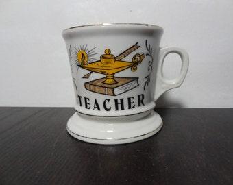 "Vintage Knobler ""Teacher"" Ceramic Coffee Mug/Cup - Occupation Mug - Coffee/Shaving Mug"