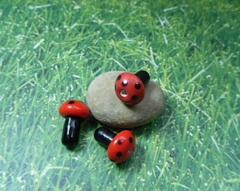 50 red and black polka dot mushroom lampwork glass beads - loose beads - jewelry and craft supply