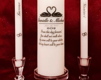 Unity Candle Set (Personalized) -Flat Top Pillar