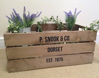 PERSONALISED, Vintage Style Wooden Apple Crate, Shabby Chic Wooden Crate, Handmade, Fruit Crate