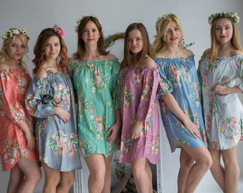 Mismatched Off the shoulder Bridesmaids Button down Shirts in Dreamy Angel Song Pattern