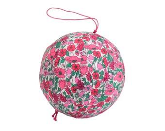 Liberty Petal and Bud Strawberry fabric Christmas ball