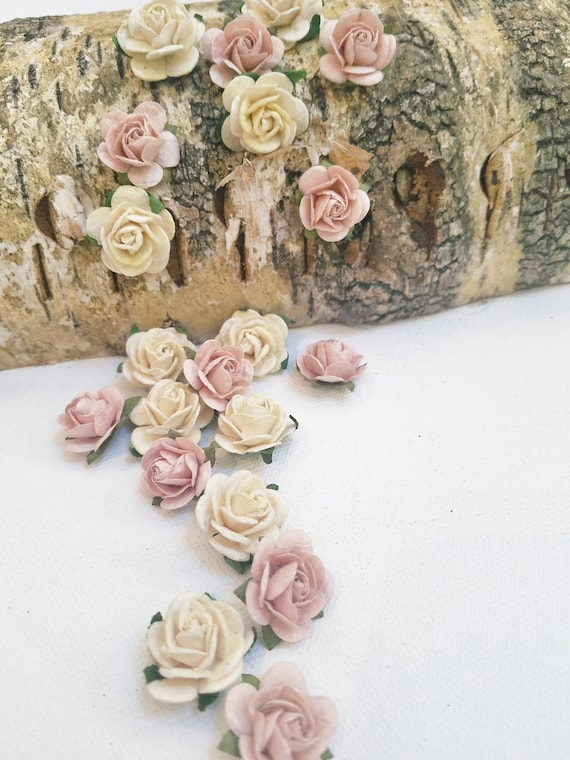 Set of 20 blush and ivory paper roses mini paper flowers set of 20 blush and ivory paper roses mini paper flowers blush roses ivory roses artificial flowers tiny roses diy wedding mightylinksfo
