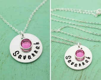 Mother's Necklace Hand Stamped Name Necklace - Personalized Necklace - Birthstone Necklace - Sterling Silver Necklace - Gift For Mom
