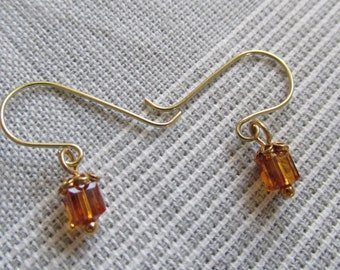 Earrings with small Swarovski topaz crystal cubes with gold filled daisy flower bead caps and handmade gold ear wires for women made in 2018