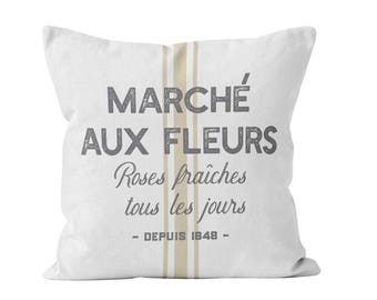 Flowers Market Pillow Cover in French, French Country Pillow Cover Farmhouse Quote Throw Pillow Cover Grain Sack Pillow Cover _M