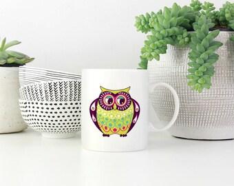 Owl Mugs - Owl Coffee Mug - Cute Owl Mug - Mug Owl Gift - Mug Colorful Owl - Woodland Animal Mug - Statement Coffee Mug - Cute Mugs
