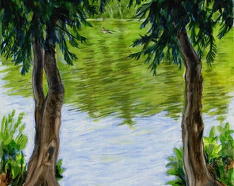 "original oil painting, ""Swimmer"", nature, lake, forest, trees, swimming"