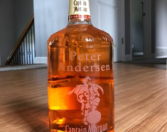 Custom Engraved Captain Morgan Etched Rum Bottle Gift Personalized Merchandise