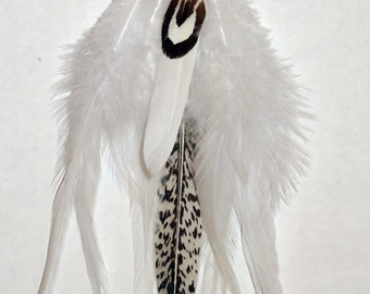 Pure Innocence Winged Yogini Black and White Dangle Feather Earrings