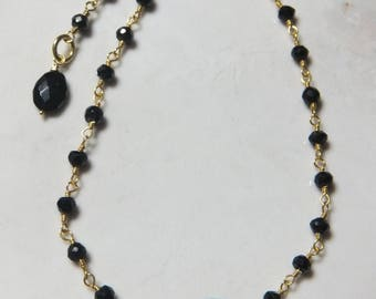 Black Spinel Gold Vermeil Rossary Linked Adjustable Length Bracelet.