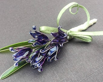 Wedding flowers. Bluebell flowers buttonhole. Buttonhole. Accessories