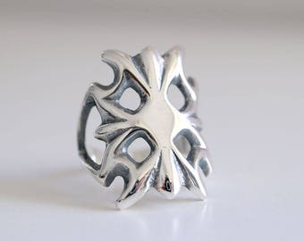 Vintage collection. Sterling silver Sand cast ring. Sand cast, flower ring, navajo ring, boho ring, silver ring, vintage flower ring.