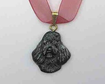 Dog Breed POODLE Handpainted Clay Necklace/Pendant CHOOSE Black, White or Grey Color