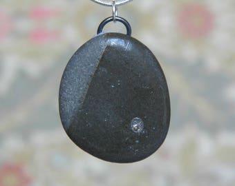Elegant grey pendant, Irish slate, natural jewellery, FREE SHIPPING, stone pendant, beachcomber jewelry, LBD necklace, Irish necklace, posh