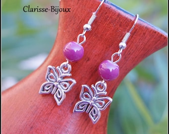 Purple Earrings, Silver Beaded Earrings, Butterfly Earrings