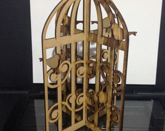 Birds of a Feather Wood Birdie Cage Decor