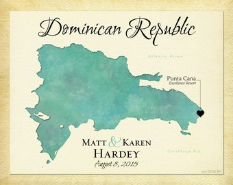 Map of the Dominican Republic, Unique Anniversary Gift, Personalized Wedding Present, Gift for Spouse, Map Art Print, Punta Cana Keepsake