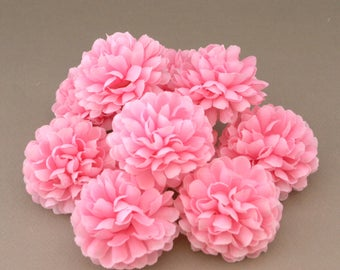 Light Pink Pom Pom Carnations - 25 count - Artificial Flowers, Silk Flowers