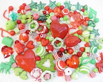 FREE UK SHIPPING 200 pcs Christmas Craft Destash Red and Green
