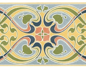 Hand-cut wooden jigsaw puzzle. ART NOUVEAU TILES. L. Hellmuth. Three puzzles in one. Wood, collectible. Bella Puzzles.
