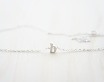 "Silver Letter, Alphabet, Initial  ""b"" necklace, birthday gift, lucky charm, layered necklace"