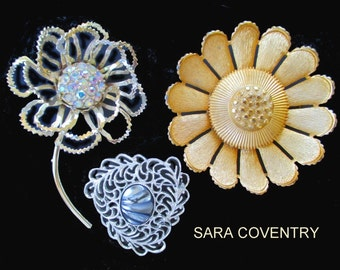 SARAH COVENTRY Pins * Lot Of Three Pins/Brooches * Classic Vintage