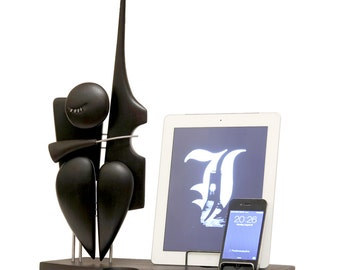 Contrabass player docking station, gifts for men, docking station, dual dock, FREE SHIPPING, wedding gift, tablet and phone stand and dock