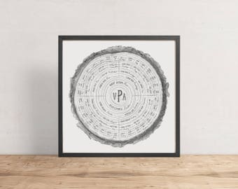 Custom Family Tree (6 Ring) - personalized family tree, tree rings, ancestry, modern family tree, genealogy, gift idea, Father's Day gift