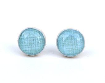 Duck Egg Blue Stud Earrings • Blue Post Earrings • Blue Studs • Wood Earrings • minimalist jewelry • Valentines gift for her