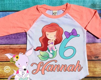 Mermaid Birthday shirt Custom Mermaid Birthday Shirt Raglan Any Age Name under the sea Birthday Shirt mermaid Birthday Party Shirt