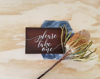 Please take one sign, wedding favours sign, bomboniere sign, wood wedding sign, wedding decor