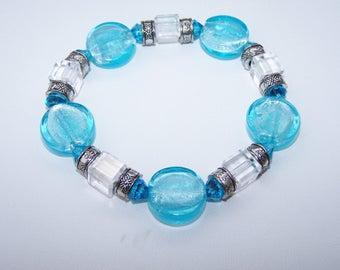 Aqua Glass Bracelet, Aqua foil lined Bracelet