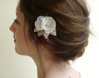 Lace Bridal Hair Flower, Crystal Bridal Hair Pin, Ivory Flower  Wedding Hair Pins, Rustic Burlap Wedding Hair Piece