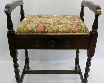 Piano Bench / Stool with Floral Top - Reconditioned