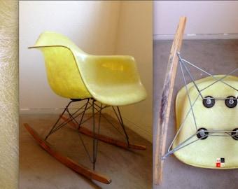 EAMES LEMON YELLOW Rope Edge All Vintage Rocker Zenith Herman Miller  Fiberglass Armshell Rocking Chair Checkerboard