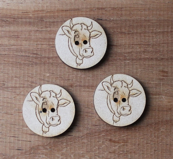 8 pieces.Cow Farmyard.Buttons,3 cm Buttons -Acrylic and Wood Laser Cut-Jewellery Supplies-Little Laser Lab Wood and Acrylic Products
