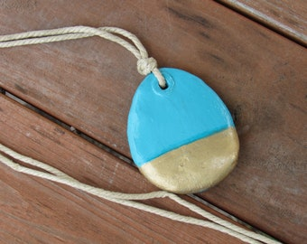 Teal and Gold Dipped Necklace